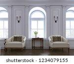 luxury two armchair in classic... | Shutterstock . vector #1234079155