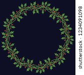 christmas wreath with round... | Shutterstock .eps vector #1234091098