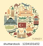 set of country turkey culture... | Shutterstock .eps vector #1234101652
