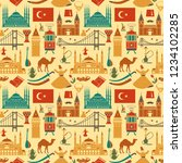 pattern with country turkey... | Shutterstock .eps vector #1234102285