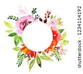 watercolor floral frame multi...   Shutterstock . vector #1234114192