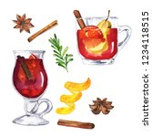 set of mulled wine glasses with ... | Shutterstock . vector #1234118515