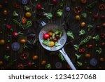 fresh organic vegetables in... | Shutterstock . vector #1234127068