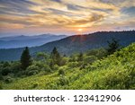 Blue Ridge Parkway Sunset Cowee Mountains Scenic Landscape in Western North Carolina - stock photo
