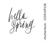 phrase hello spring. brush... | Shutterstock .eps vector #1234139128