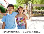 beautiful brother and sister... | Shutterstock . vector #1234145062