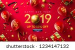 happy new year 2019 promotion... | Shutterstock .eps vector #1234147132