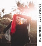 rock star girl with red hair...   Shutterstock . vector #1234148098