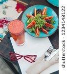 vegetable salad with red juice   Shutterstock . vector #1234148122