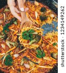 vegetarian paella with broccoli   Shutterstock . vector #1234149262