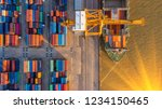 container ship in export and... | Shutterstock . vector #1234150465