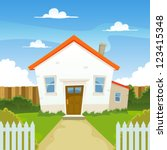 house  illustration of a... | Shutterstock .eps vector #123415348