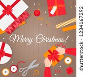 greeting card merry christmas.... | Shutterstock .eps vector #1234167292