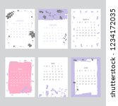 floral 2019 calendar. yearly... | Shutterstock .eps vector #1234172035