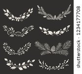 floral hand drawn christmas... | Shutterstock .eps vector #1234177708