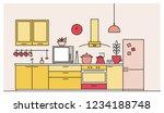 trendy interior of kitchen full ... | Shutterstock .eps vector #1234188748