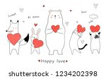 Stock vector draw vector illustration cute animal bear rabbit fox cat dog holding red heart for valentine day 1234202398