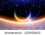 Abstract fantastic background - planet Earth in space, pink clouds, blue stars. Elements of this image furnished by NASA. - stock photo