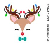 Stock vector cute christmas red nose reindeer face vector funny cartoon deer with decorative lights vector 1234219828
