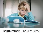 difficult homework  little boy... | Shutterstock . vector #1234248892