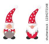 cartoon christmas gnome boy and ... | Shutterstock .eps vector #1234272148