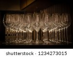 closeup set of empty champagne... | Shutterstock . vector #1234273015