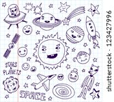 stars and planets. doodle set.... | Shutterstock .eps vector #123427996