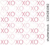 xoxo lettering pattern with... | Shutterstock .eps vector #1234281082