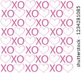 xoxo lettering pattern with... | Shutterstock .eps vector #1234281085