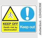 """plate  """"keep off. death risk by ... 