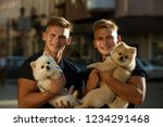 happy family day. spitz dogs...   Shutterstock . vector #1234291468