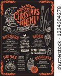 christmas menu template for... | Shutterstock .eps vector #1234304278