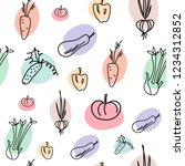 hand drawn doodle vegetables... | Shutterstock .eps vector #1234312852