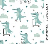 seamless pattern with crocodile ... | Shutterstock .eps vector #1234325275