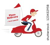 funny pizza delivery boy riding ... | Shutterstock .eps vector #123432958