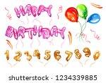 colorful balloon set. birthday...   Shutterstock . vector #1234339885