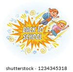 superhero kids fly to school.... | Shutterstock .eps vector #1234345318