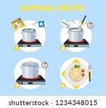 how to cook porridge with few... | Shutterstock .eps vector #1234348015