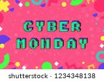 cyber monday 8 bit pixel art...   Shutterstock .eps vector #1234348138
