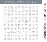 100 airport terminal universal... | Shutterstock .eps vector #1234351618