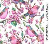 watercolor floral spring... | Shutterstock . vector #1234355638