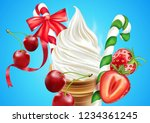 christmas ice cream cone with... | Shutterstock .eps vector #1234361245