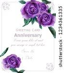 purple roses flowers watercolor ... | Shutterstock .eps vector #1234361335