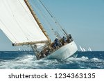 sailboat under white sails at... | Shutterstock . vector #1234363135