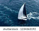 sailing yacht under full sail... | Shutterstock . vector #1234363192