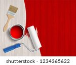 paint roller  paint brush and a ... | Shutterstock .eps vector #1234365622