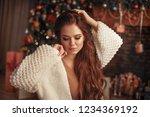 christmas portrait of... | Shutterstock . vector #1234369192