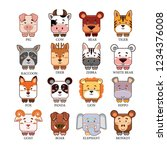 cute cartoon animals head. pig  ... | Shutterstock .eps vector #1234376008