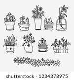 collection of flower pots.... | Shutterstock .eps vector #1234378975