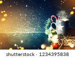 cup of tea on christmas... | Shutterstock . vector #1234395838